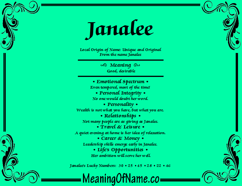 Meaning of Name Janalee