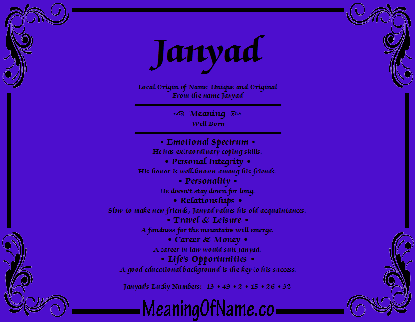 Meaning of Name Janyad