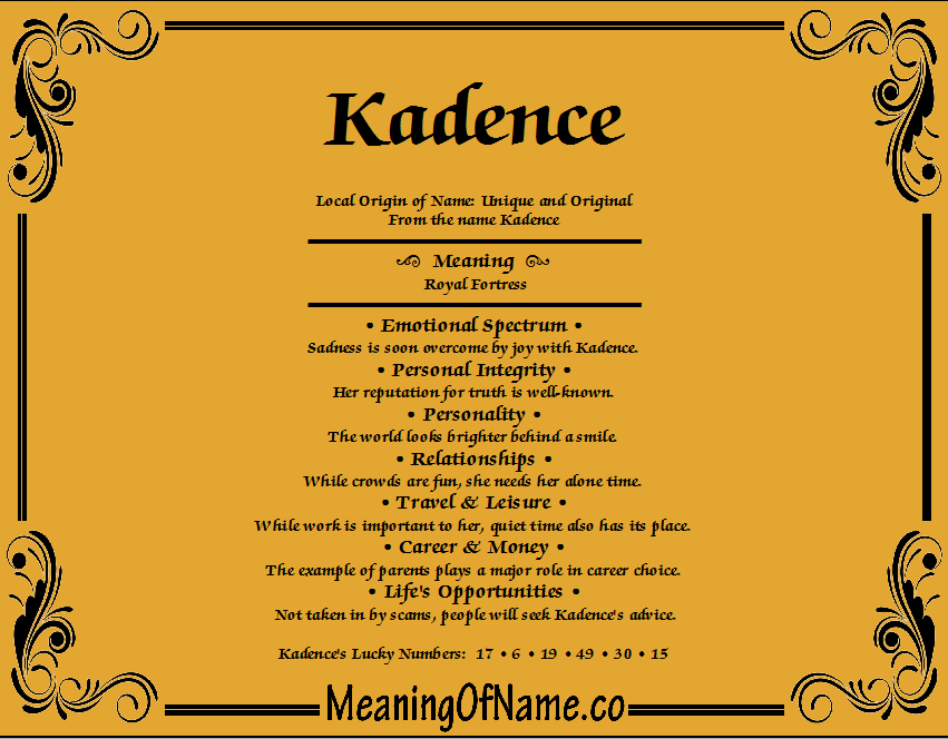 Meaning of Name Kadence