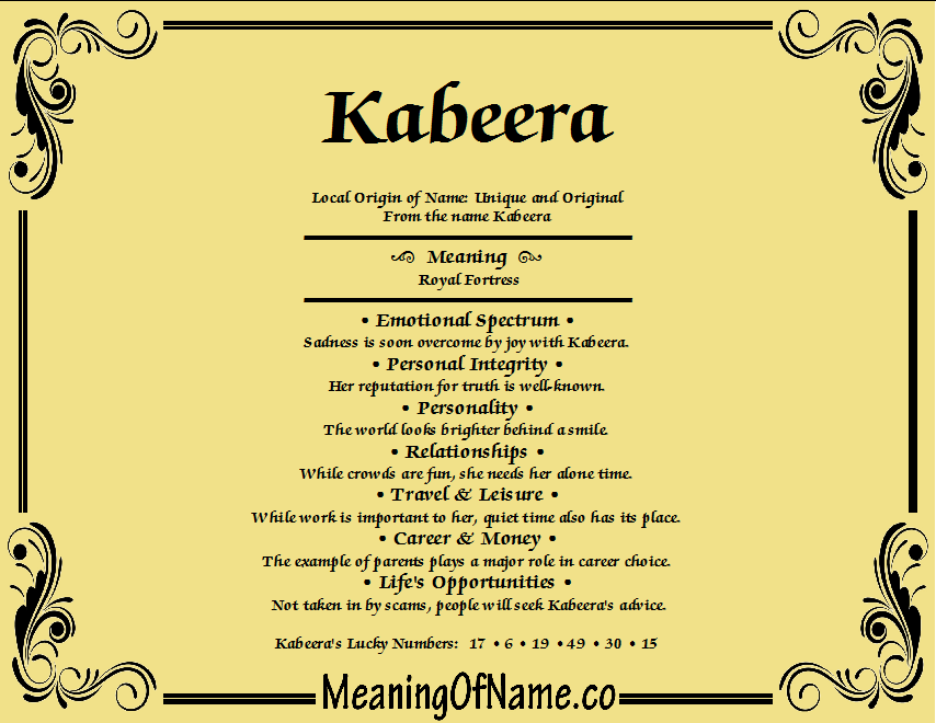 Meaning of Name Kabeera