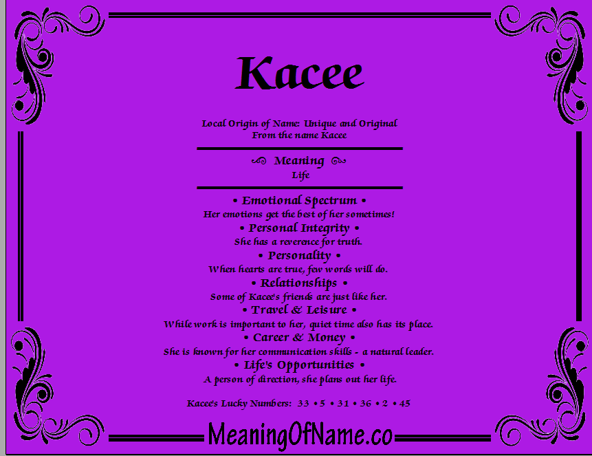Meaning of Name Kacee