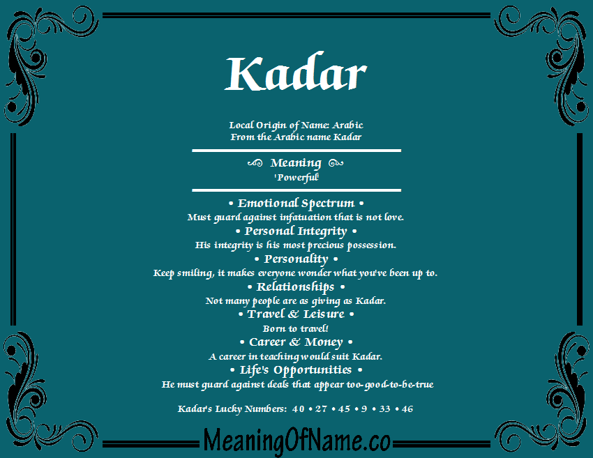 Meaning of Name Kadar