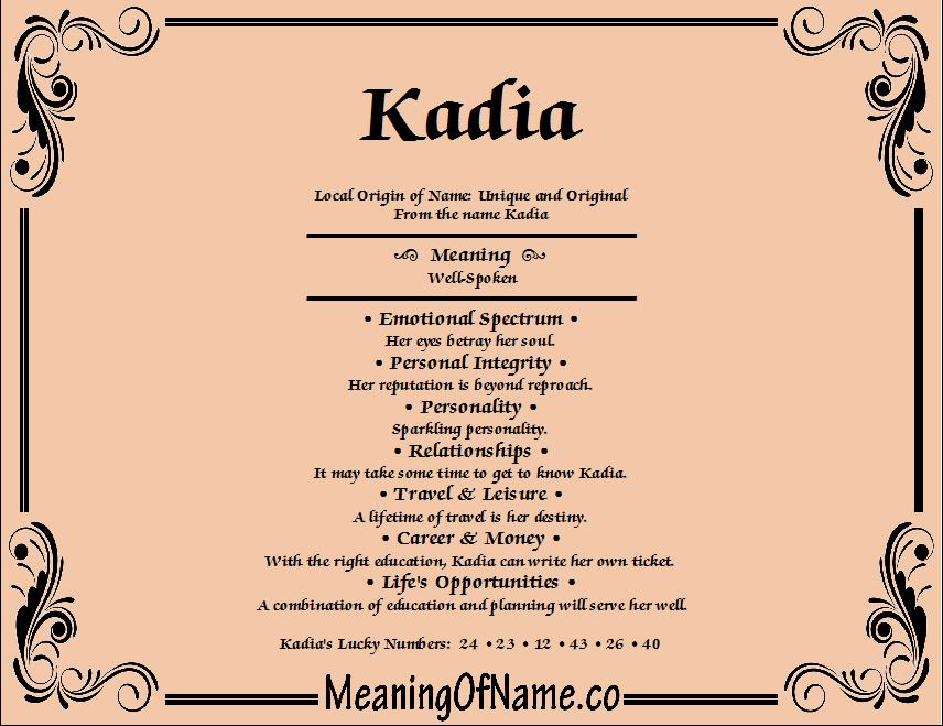 Meaning of Name Kadia