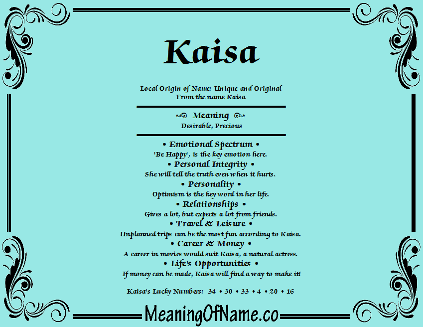 Meaning of Name Kaisa
