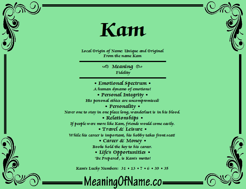 Meaning of Name Kam