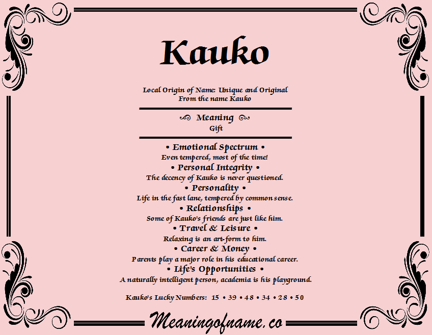Meaning of Name Kauko