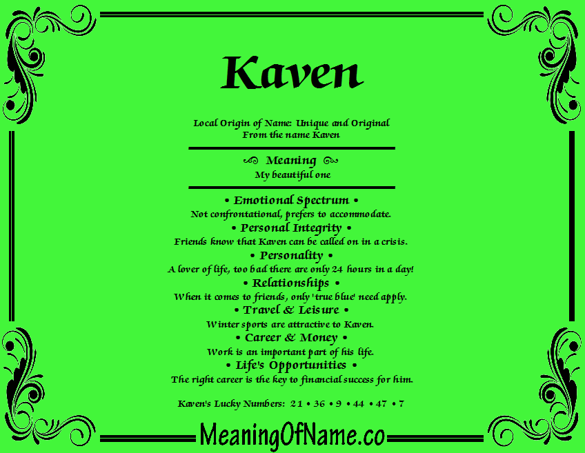 Meaning of Name Kaven