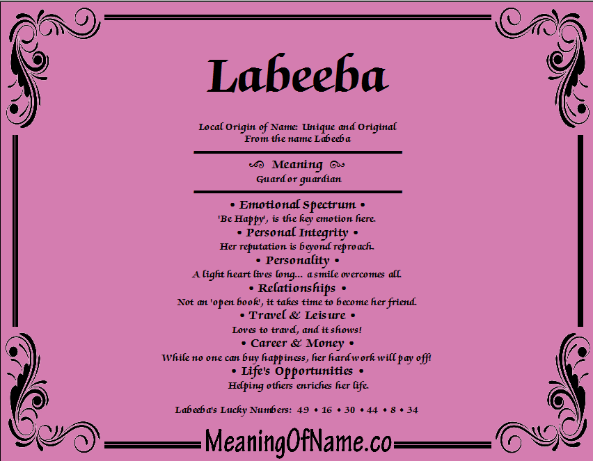 Meaning of Name Labeeba