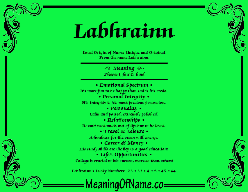 Meaning of Name Labhrainn