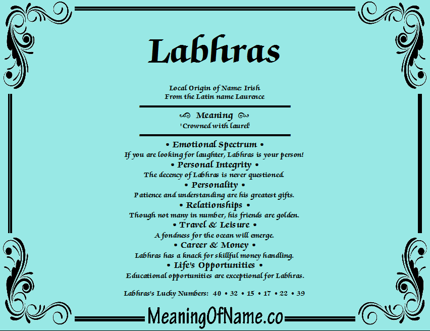 Meaning of Name Labhras
