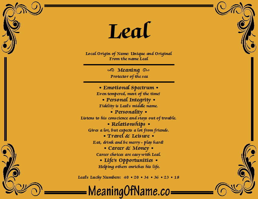 Meaning of Name Leal