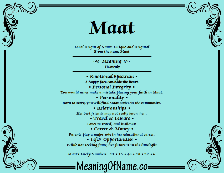 Meaning of Name Maat