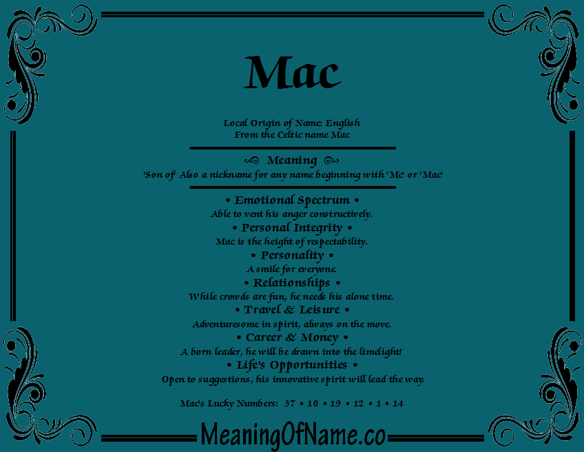Meaning of Name Mac