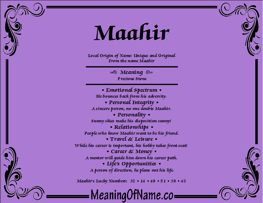 Meaning of Name Maahir