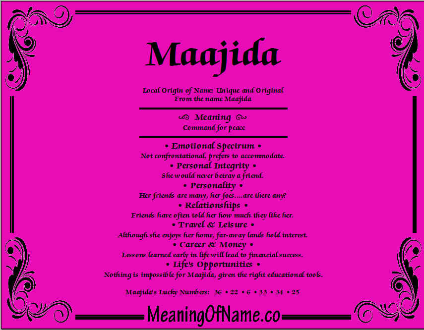 Meaning of Name Maajida