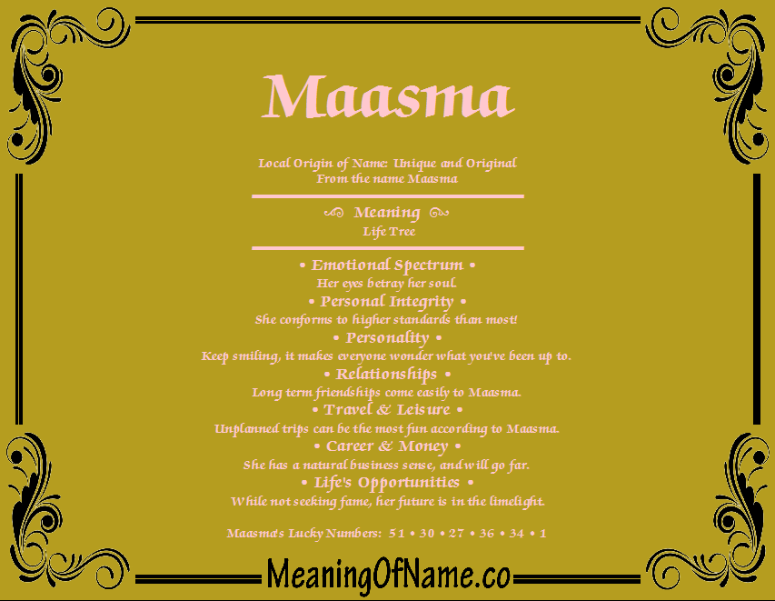 Meaning of Name Maasma