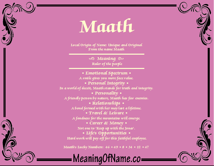 Meaning of Name Maath