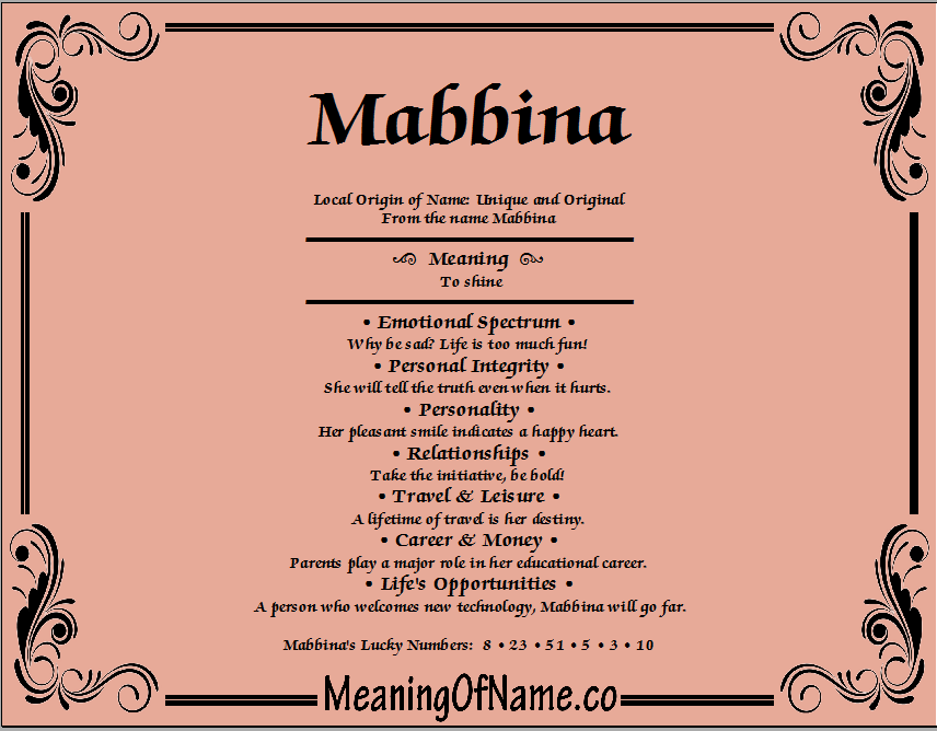 Meaning of Name Mabbina