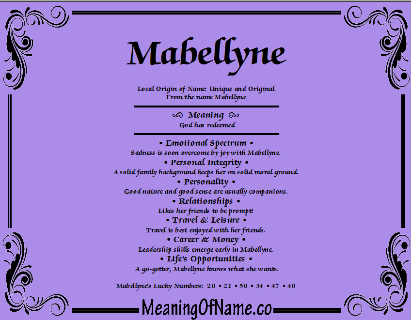 Meaning of Name mabellyne