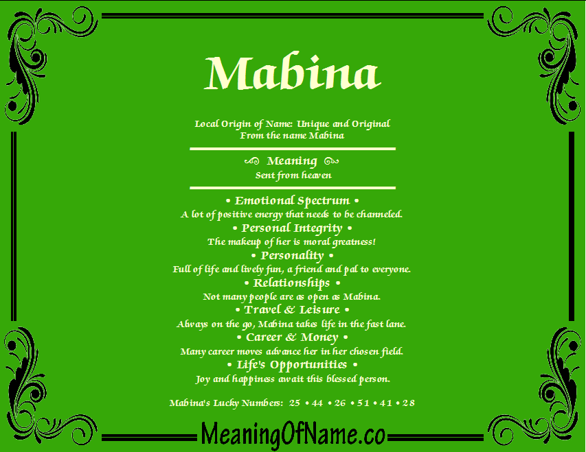 Meaning of Name Mabina