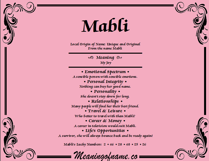 Meaning of Name Mabli