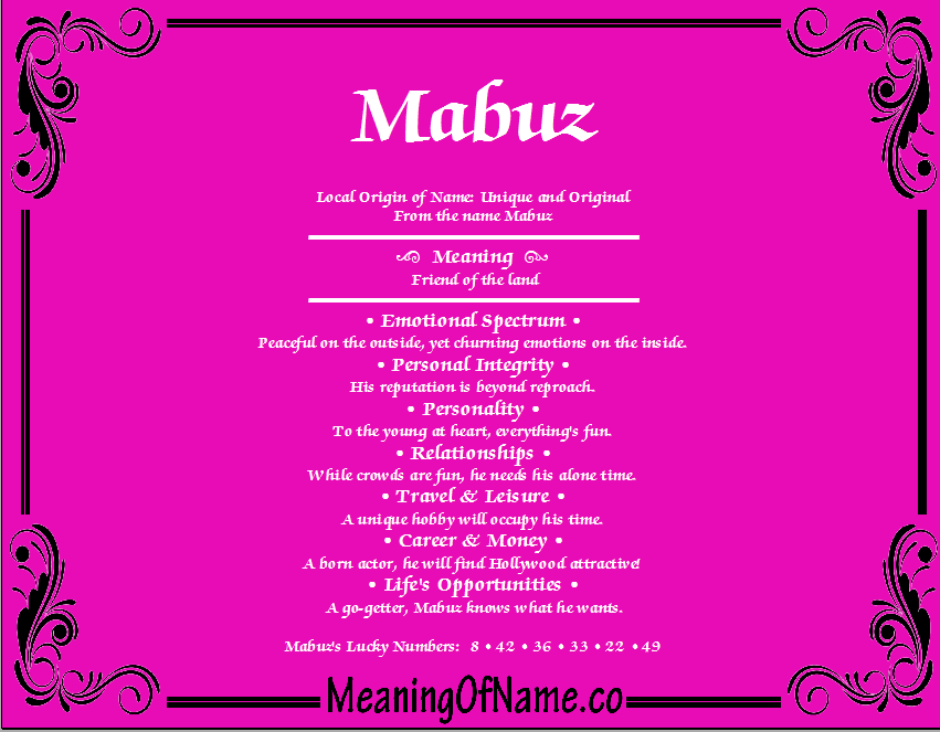 Meaning of Name Mabuz