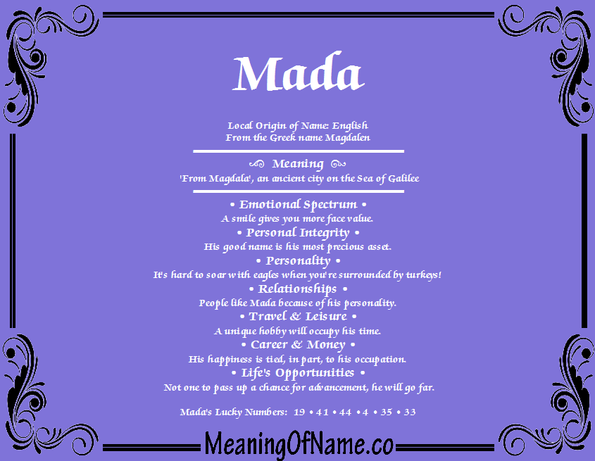 Mada Meaning Of Name Your browser does not support audio. meaning of name