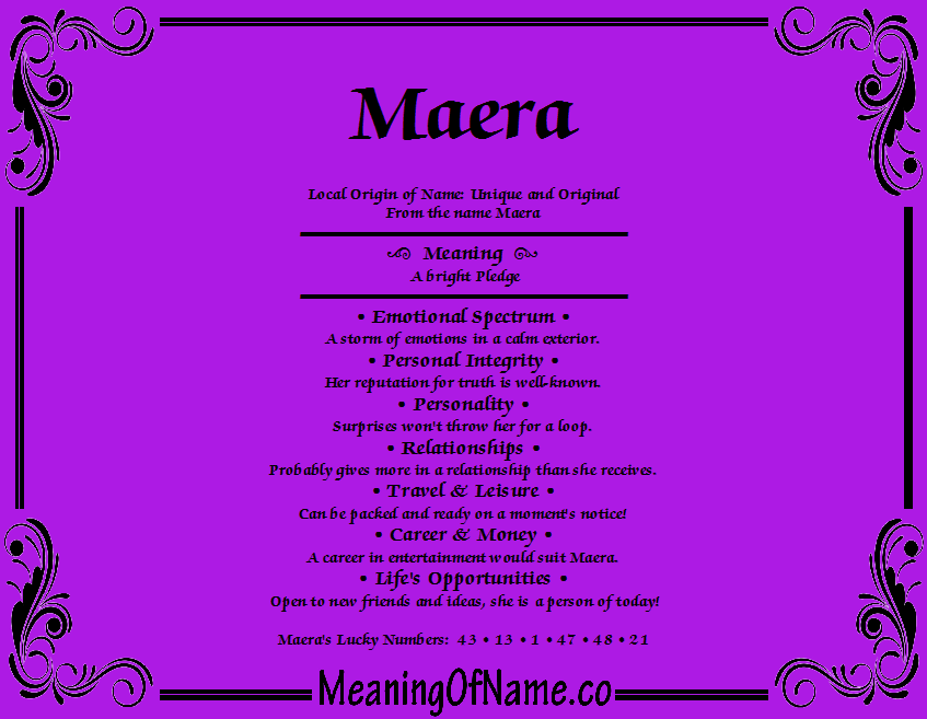 Meaning of Name Maera