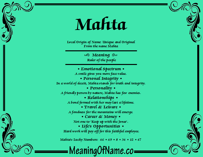 Meaning of Name Mahta