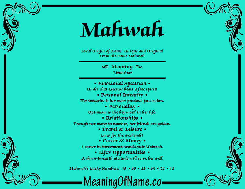 Meaning of Name Mahwah