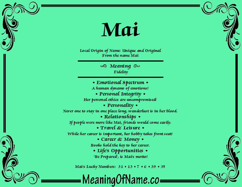 Meaning of Name Mai