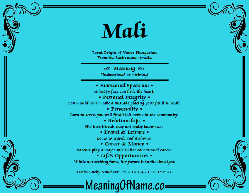 Meaning of Name Mali