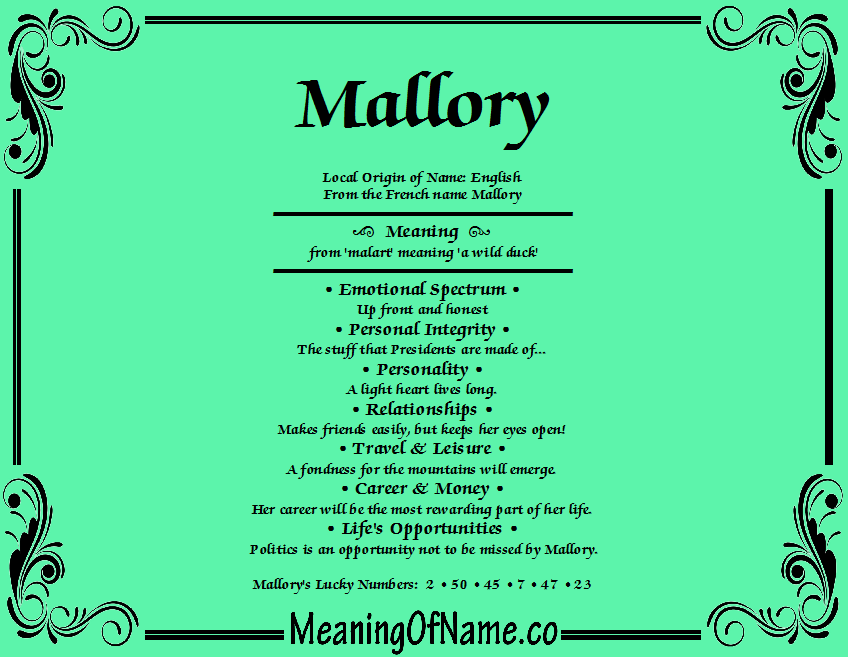 Mallory - Meaning of Name