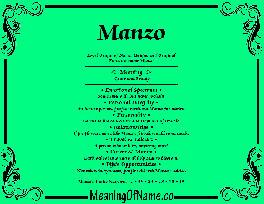 Meaning of Name Manzo