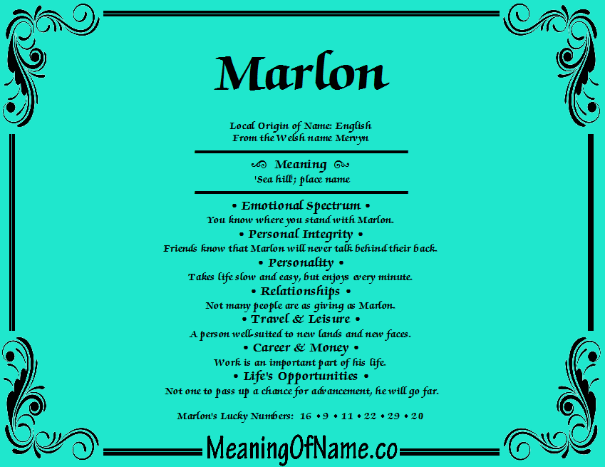 Meaning of Name Marlon