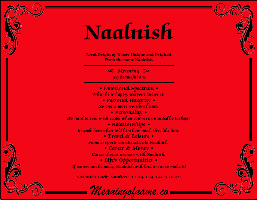 Meaning of Name Naalnish