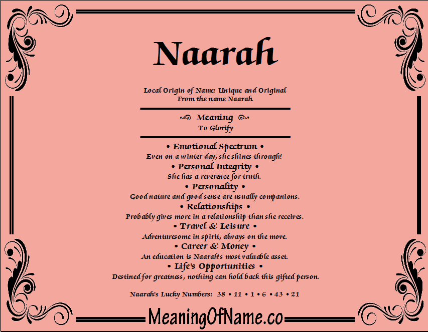 Meaning of Name Naarah