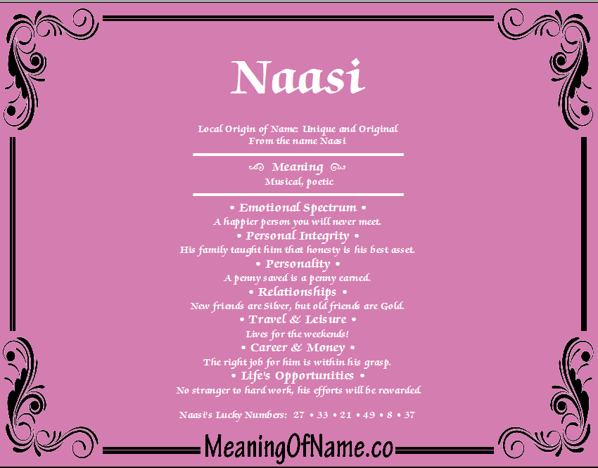Meaning of Name Naasi