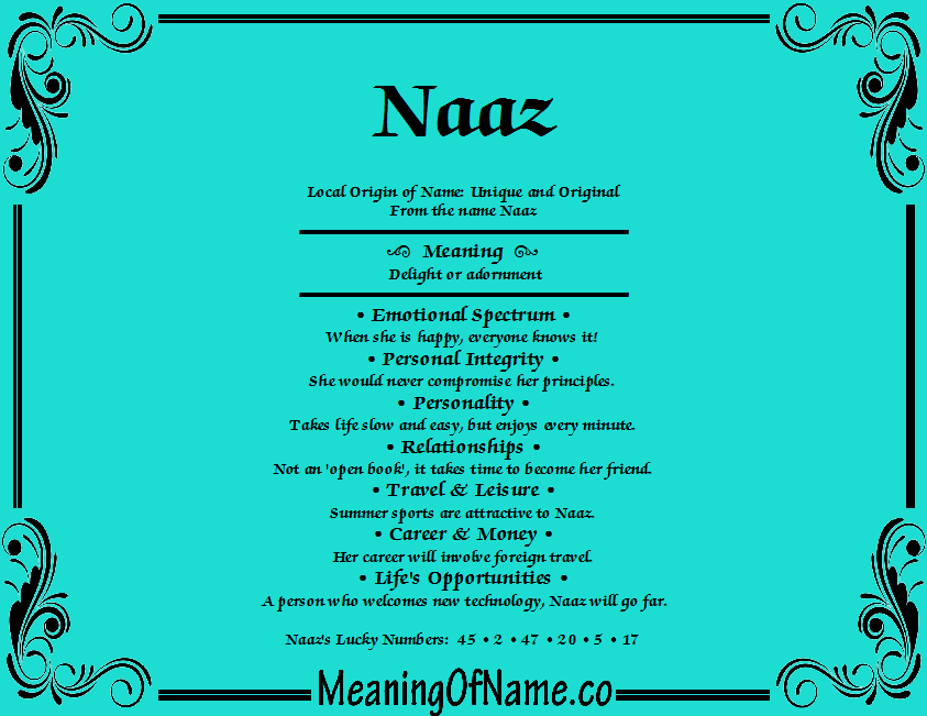 Meaning of Name Naaz
