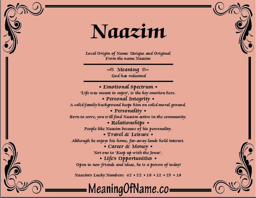 Meaning of Name Naazim