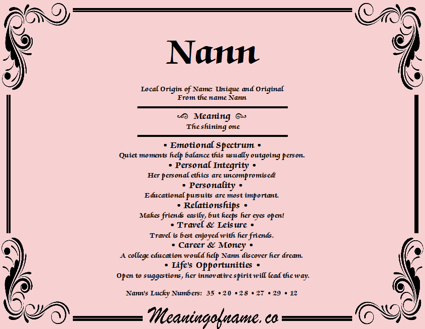 Meaning of Name Nann