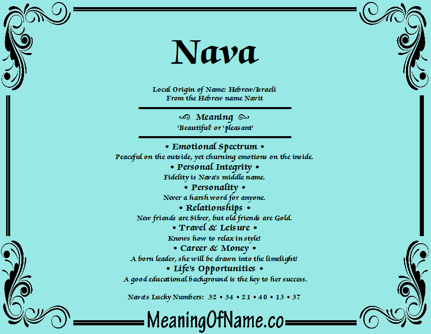Meaning of Name Nava