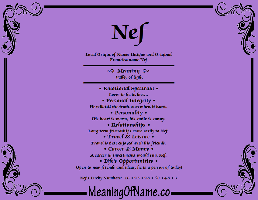 Meaning of Name Nef