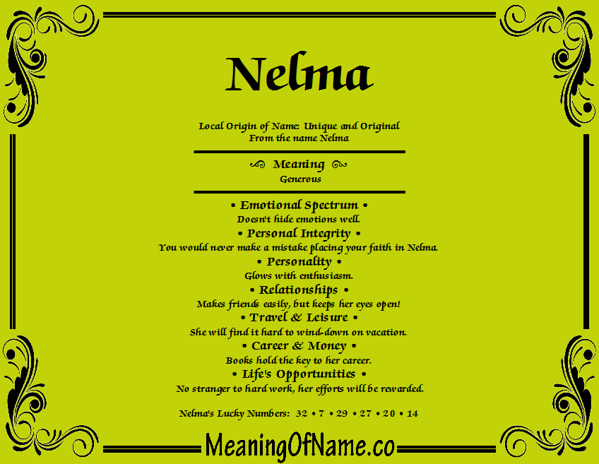 Meaning of Name Nelma