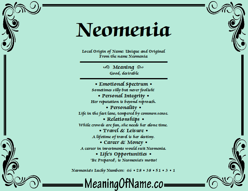 Meaning of Name Neomenia