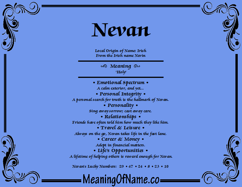 Meaning of Name Nevan