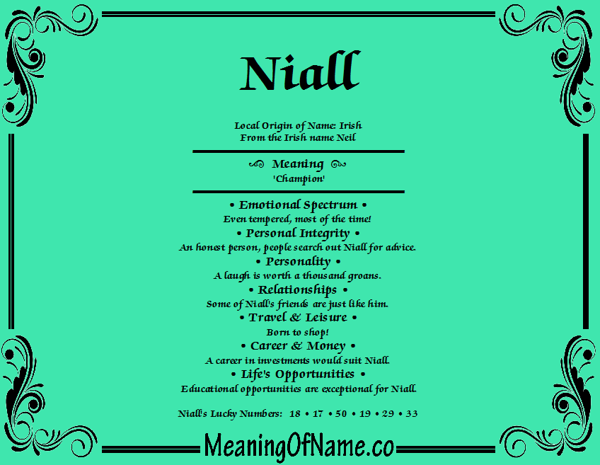 Meaning of Name Niall