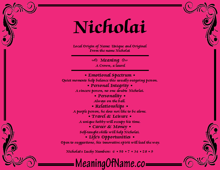 Meaning of Name Nicholai