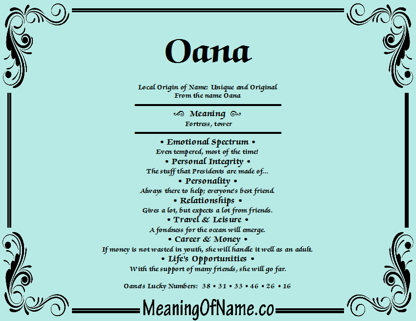 Meaning of Name Oana