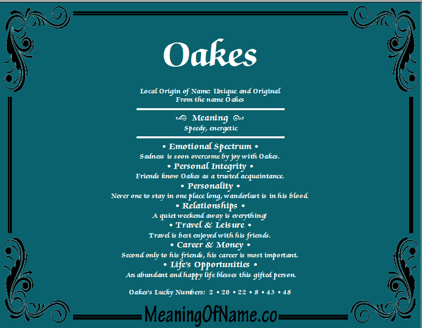 Meaning of Name Oakes